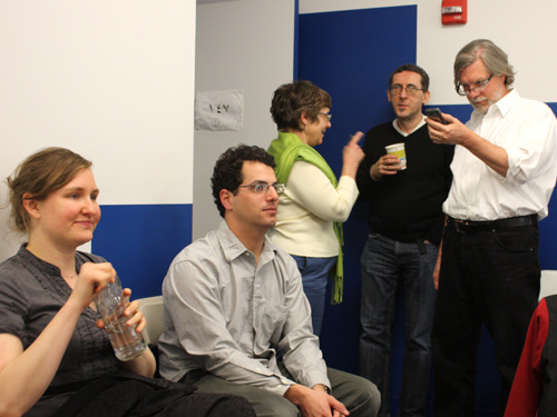 Faculty and staff on a break between critiques. From left to right, April Sheridan, Matt Harris, Michelle Citron, Jeff Abel and Clif Meador.