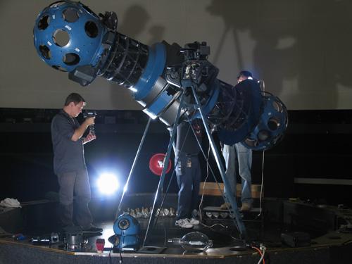 Interarts Student Nick Sagan filming at the Adler Planetarium
